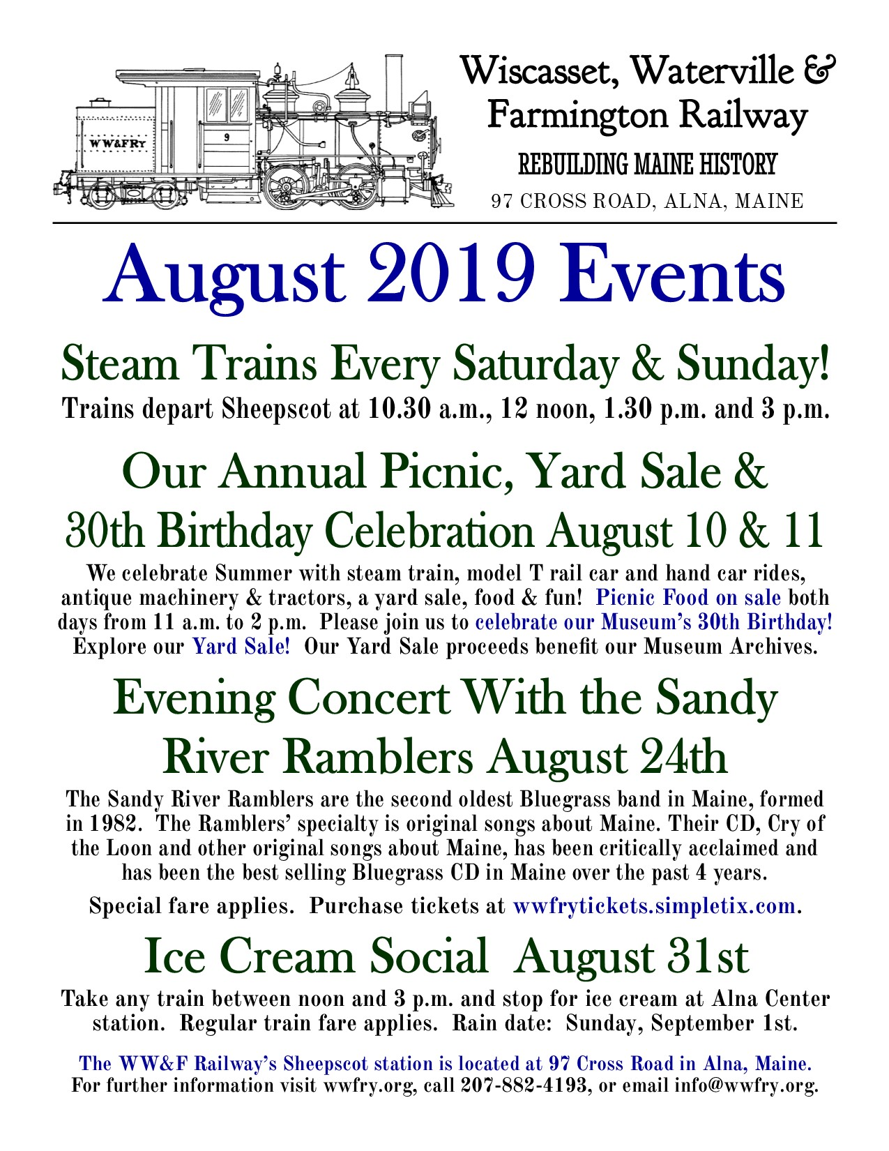 Weekend Steam Trains & Our August Events!